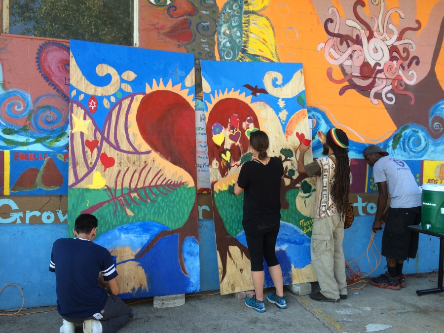 Mural in the works, at Growing Food and Justice Gathering in Chicago