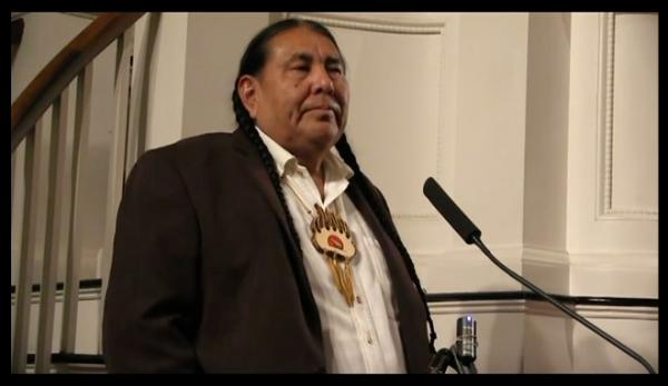 Tom Goldtooth receives the Gandhi Peace Award on October 30, 2015. Photo: Indigenous Environmental Network